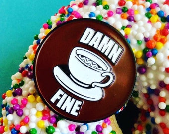 Twin Peaks Enamel Pin / R & R Diner / Agent Dale Cooper / Lapel Pin / Damn Fine Coffee