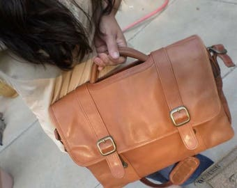Leather messenger crossbody bag