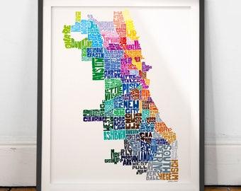 Chicago Neighborhood Map Art Print, Chicago wall decor, Chicago typography map art
