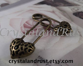Antique Bronze - Filigree Pin Charms --- 2 Pieces --- CHM - 048