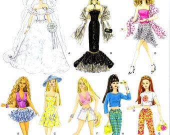 Fashion Doll Clothes Simplicity 4719 Sewing Pattern Doll Clothing Wardrobe Fits 11 1/2 Inch Dolls UNCUT