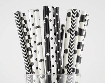 Black/White Paper Straw Mix/Striped/Chevron/Diamond/Checkered/Circle Straws/Party Decor/Cake Pop Sticks/Party Supplies/Wedding/Baby Shower