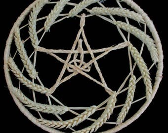 Pagan / Wiccan Lammas Handfasting / Home Blessing Wheat Pentacle Triple Goddess Sun Wheel. For Altar or Wall.