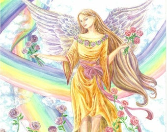 Original Angel Art, Angel Sitting on a Rainbow with twisted Rainbows and Roses flowing from Skies angel art print, 12x16 inches watercolor