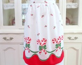 Vintage Hostess Christmas Apron, Holiday Half or Waist Apron w Bright Red Candy Canes, Vintage Linens by TheSweetBasilShoppe