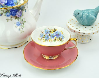 Aynsley Pink Teacup And Saucer Set With Blue Flowers, English Bone China Tea Cup Set, Wedding Gift, ca. 1934-1939