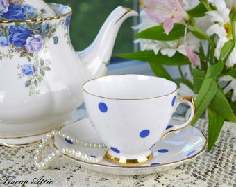 Royal Vale White Teacup and Saucer With Blue Polka Dots, Vintage English Bone China Tea Cup, Garden Tea Party,  ca. 1962-1964