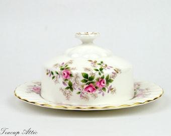 Royal Albert Lavender Rose Butter Dish, English Bone China Vintage Butter Dish, ca. 1961