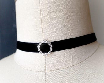 Black Velvet Choker Necklace,bling rhinestone ring ,luxury style Jewelry Handmade , Victorian, Gypsy Great Gatsby