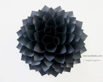 texture paper dahlia | 9'' dahlia wall decor  | origami gift || wedding flower || | black flower backdrop -texture black