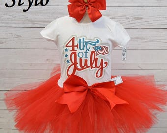 4th of July  outfit, FREE SHIPPING, seasonal, fourth of july girl, 4th of July outfit, independance day outfit, 4th of July set, red tutu