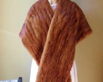 """Mid Century Mink Stole, Movie Star Fur Cape, 73"""" Brown Mink Wrap"""