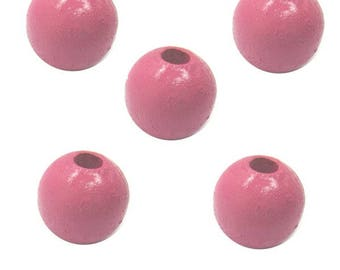 8mm Berry Pink Round Wood Beads (50 Beads)