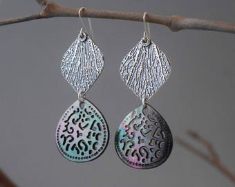 Sterling Silver Minutae Mother of Pearl earrings, Dangle Earrings, texture earrings, nature inspired jewelry, gift, oxidized jewelry