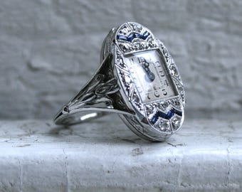 Great Vintage 18K White Gold Watch Ring.