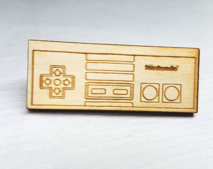 NES Controller Pin | Laser Cut Jewelry | Wood Accessories