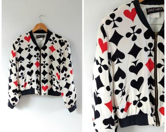 Vintage 1980s 80s novelty print bomber jacket, house of cards jacket, small / medium