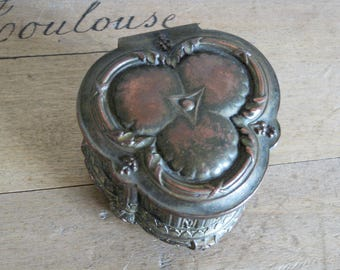 Antique French casket trinket box lined with padded blue silk lining