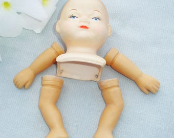 Vintage Hard Plastic Doll Head and Body Parts