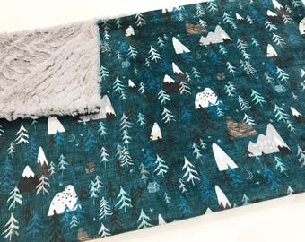 Teal Grey Forest Peaks Mountain Baby Minky Blanket