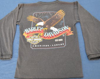 1987 Harley Davidson Long Sleeve Long John Size S T-Shirt Vintage USA Original 50/50 Biker Motorcycle Oregon