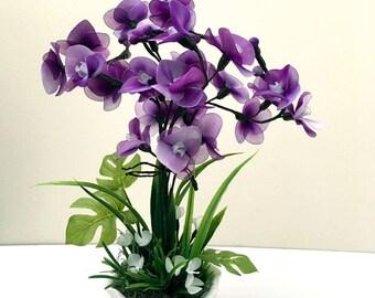 Handmade Nylon Flower Arrangement, Nylon Flowers Décor, Wedding Décor, Nylon Flower, Handmade Flowers, Gifts for Girl, Purple Orchids