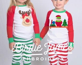 Elf Christmas pajamas Train Reindeer or Elf Baseball top pants sets - kids Christmas pajamas Adults naughty nice appliqué monogramed PJs