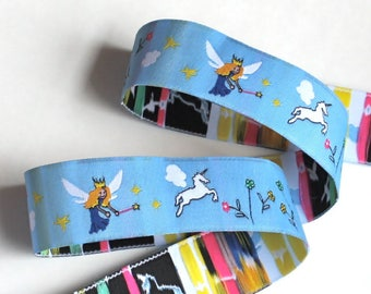 Woven Ribbon - 1' x  1 5/8 yards Fairies and Unicorns Blue, Green , Royal Bue and White