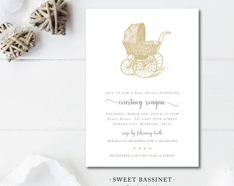 Sweet Stars and Bassinet Baby Shower Invitations