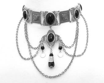 Silver Gothic Choker Black Onyx Choker Ethnic Style Collar Necklace Gothic Jewelry Black Tribal Choker Gothic Necklace Black Ethnic Jewelry