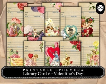 Roses Clipart Floral - Library Cards 2 Valentine's Day- 2 Pg Instant Download- paper ephemera kit, journaling cards, ephemera pack
