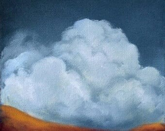 ON SALE Oil painting, landscape, clouds, jewel tone,  home decor, wall art - Stormscape series sixtyeight
