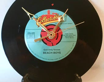 "Recycled BEACH BOYS 7"" Record / God Only Knows / Record Clock"