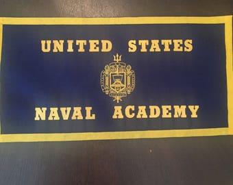 Vintage United States Naval Academy  Pennant Banner Sign Felt Display Case Banner