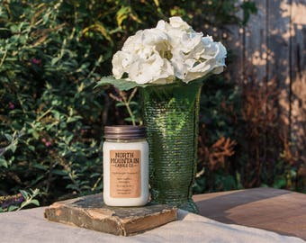 Hydrangea Bouquet | Handmade Soy Wax Mason Jar Candles | Choose Your Size | 4 oz. | 8 oz. | 16 oz. | North Mountain Candle Co.