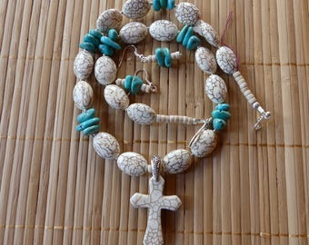 21 Inch White Howlite Stone and Turquoise Cross Necklace with Earrings