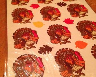 vintage nos deadstock eureka smart stix thanksgiving turkey vinyl decals