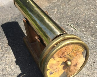 Vintage 1970's Brass Double Wheel Kaleidoscope Wooden Stand Collectible