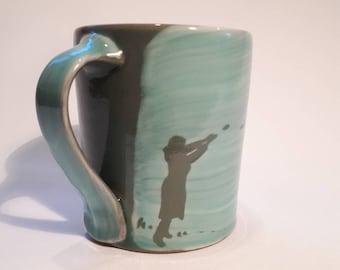Decorated stoneware mug