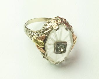 Art Deco Ring, Rose Gold, White Gold, Camphor Glass, Signed Agnini & Singer, 1920s Vintage Jewelry SUMMER SALE