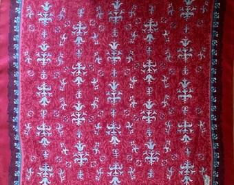 Liberty of London Silk Scarf, Pink, Red, Blue, Fleur de Lis, Floral, Vintage SUMMER SALE