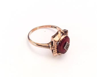 Carnelian Ring Diamond Ring Art Deco Vintage Jewelry