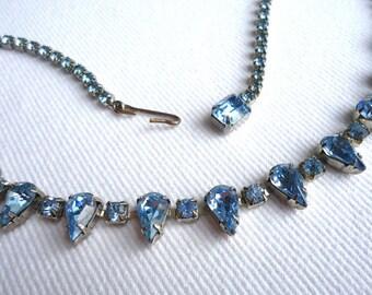 Weiss Necklace, Blue Glass, Mid Century Designer Vintage Bridal Jewelry SUMMER SALE