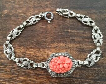 Art Deco 1920s Bracelet, Coral Glass, Chrysanthemum Flower, Sterling Silver Vintage Jewelry SPRING SALE