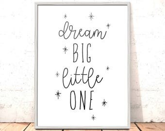 Scandi Nursery Print | Dream Big Little One Nursery Print | Art for Boys Room | Girls Room Decor | Kids Room Decor | Nursery Decor