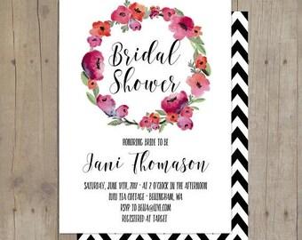 SUMMER SALE Floral Wreath Chevron Invitation Bridal Baby Shower Printable Invitation Card