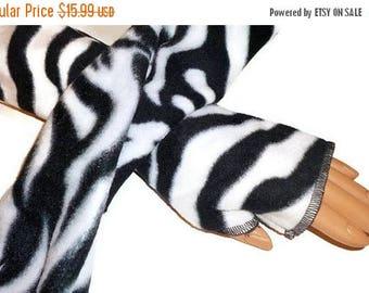 ON SALE Black White Zebra Armwarmers Fingerless Gloves Fleece