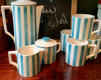 Coffee Set Turquoise and White Stripes with Mugs, Creamer and Sugar, Royal Sealy ca. 1960