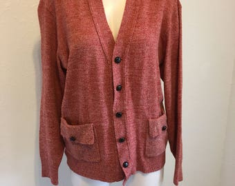 Vintage Mens Cardigan Sweater, Red Wool Sweater, Button Up Sweater, Jantzen Sweater