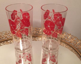 Vintage Federal Glass Company Morning Glory Red Glass Tumblers Set of 2